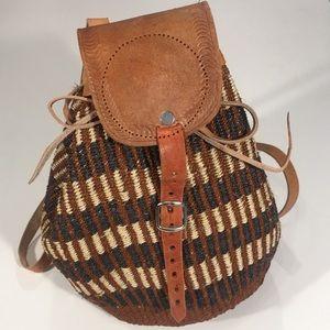 Vintage Boho Straw Backpack Bag Festival Wear! EUC